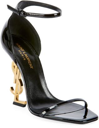 Saint Laurent Opyum Logo-Heel Sandals with Golden Hardware