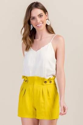 Camila Paperbag Waist Classic Shorts - Lemon