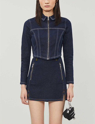 Topshop Cropped stretch-denim jacket