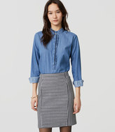 LOFT Petite Striped Knit Pull On Pencil Skirt