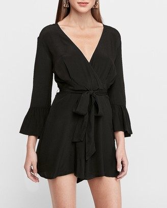 Express Ruffle Bell Sleeve Wrap Front Romper