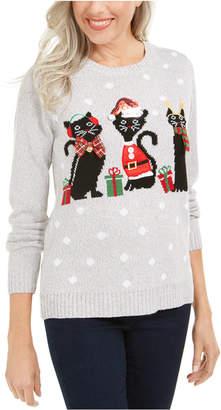 Karen Scott Petite Christmas Cats Sweater