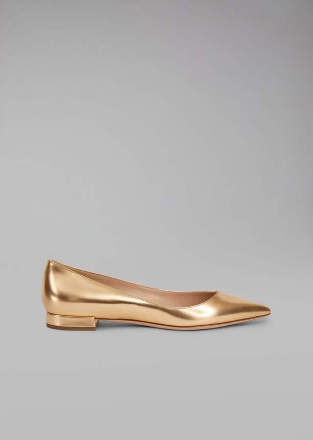 Giorgio Armani Laminated Leather Pointed Ballet Flats