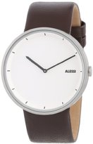 Alessi Men's Quartz Watch with White Dial Analogue Display and Brown Leather Bracelet AL13001