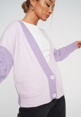 Missguided Lilac Colorblock Cardigan