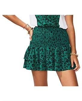 SUBOO Leopard Lights Shirred Mini Skirt