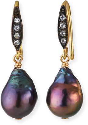 Margo Morrison 18k White Sapphire Small Peacock Baroque Pearl Dangle Earrings