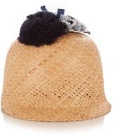 Federica Moretti Raffia pompom-embellished hat