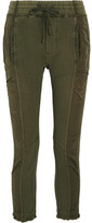 Haider Ackermann Paneled Cotton-jersey And Faille Pants - Army green