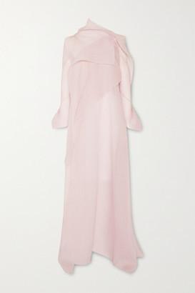 Roland Mouret Panska Draped Cape-effect Silk-blend Organza-jacquard Gown - Blush