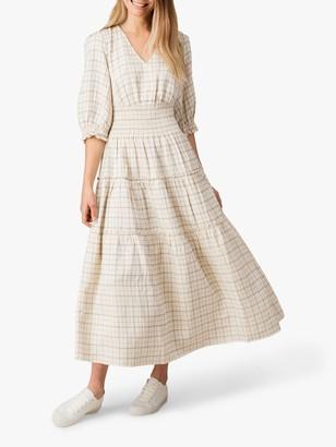 Jigsaw Linen Blend Pin Check Dress