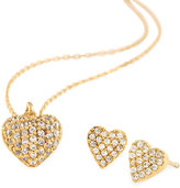 Tai Pave Golden Heart Necklace & Stud Earring Set