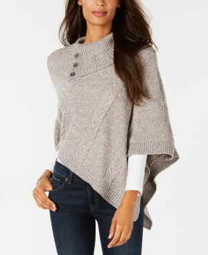 Karen Scott Asymmetric Cable-Knit Poncho Sweater, Created for Macy's