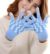 WINSON Winter Women Touch Screen Glove Polka Dot Knit Cotton Warm Full Finger Golves