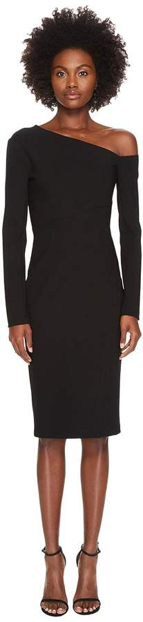 Yigal Azrouel 3/4 Sleeve One Shoulder Fitted Dress