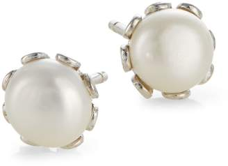 Etereo Sterling Silver and Pearl Crown-Shaped Stud Earrings