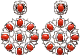 Arthur Marder Fine Jewelry Silver 4.50 Ct. Tw. Diamond & Coral Earrings