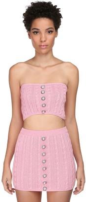 Giuseppe di Morabito Cotton Knit Strapless Top W/ Buttons