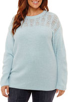ST. JOHN'S BAY St. John's Bay Long Sleeve Crew Neck Sweater-Plus
