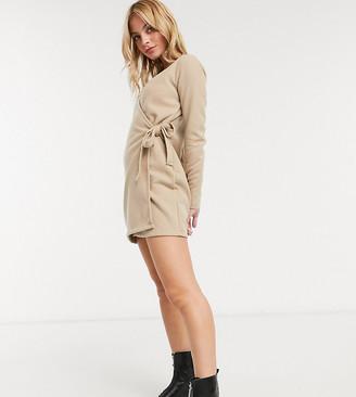 ASOS DESIGN Petite super soft mini wrap dress in camel