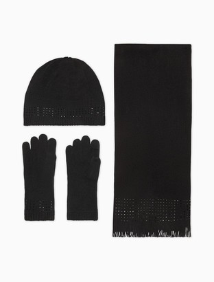 Calvin Klein Solid Knit Hat, Scarf + Gloves 3-Piece Set