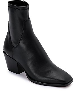 Dolce Vita Women's Sid Square Toe Mid Heel Faux Leather Booties