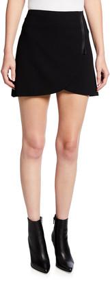 Alice + Olivia Lennon Side-Zip Overlap Mini Skirt