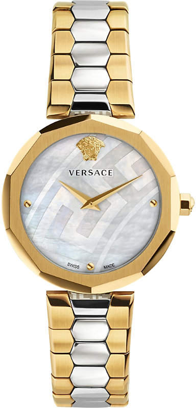 Versace V-Muse gold and stainless steel watch