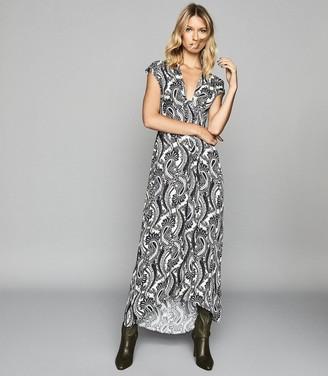 Reiss Ida - Paisley Printed Maxi Dress in Black/white