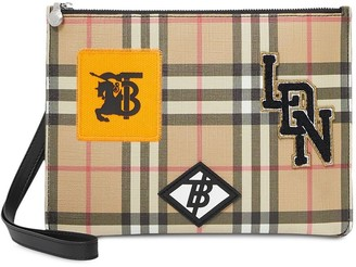 Burberry Logo Graphic Vintage Check E-canvas Zip Pouch