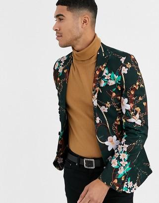 Asos Design DESIGN super skinny blazer in dark green floral chain print