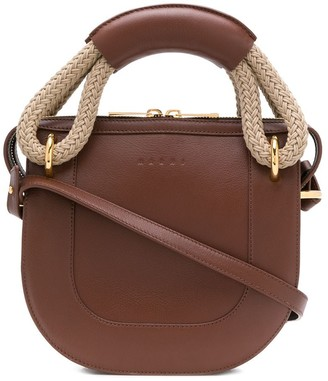 Marni Bonnie leather and rope handle handbag