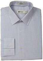 Haggar Men's End On End Check Point Collar Regular Fit Long Sleeve Dress Shirt