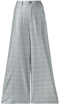 Ganni Checked Wide-Leg Trousers