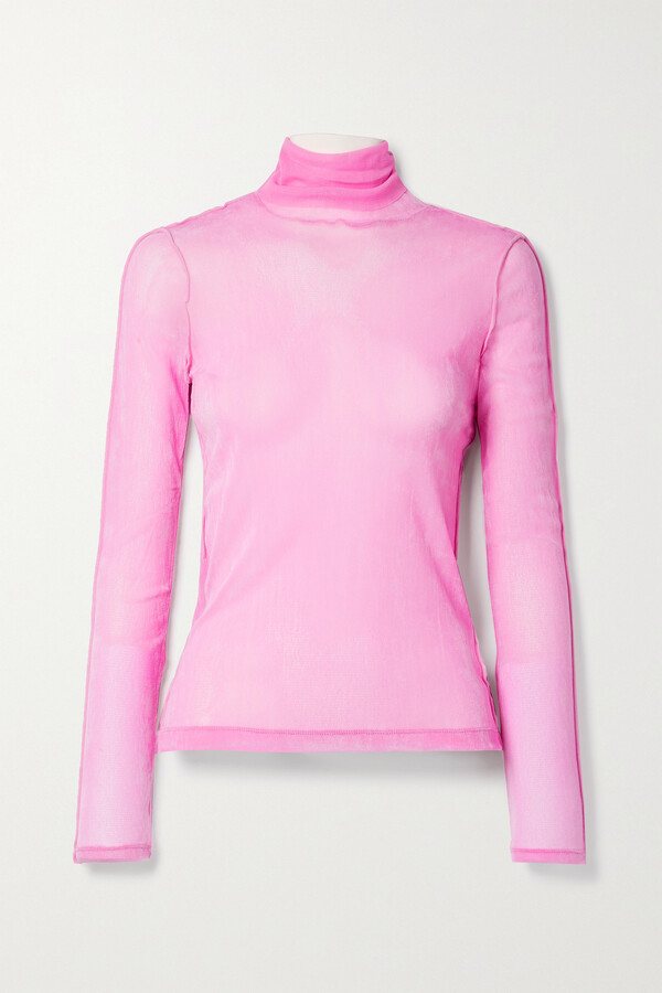 Thumbnail for your product : Helmut Lang Stretch-tulle Turtleneck Top - Pink
