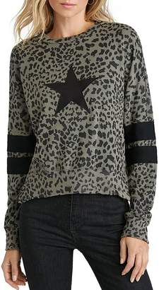 Chrldr High/Low Leopard Print Sweatshirt