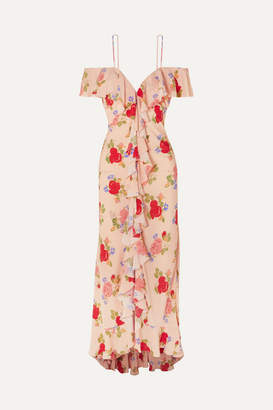 De La Vali Jolene Cold-shoulder Floral-print Crepe De Chine Maxi Dress - Peach
