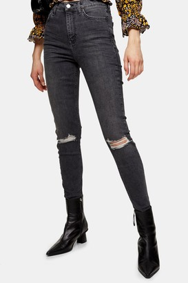 Topshop Washed Black Ripped Jamie Skinny Jeans