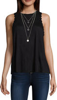 Self Esteem Sleeveless Jersey Blouse with Necklace-Juniors
