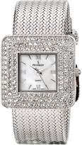 Peugeot Women's Silver Weave Bracelet Square Crystal Bezel Mother of Pearl Roman Numeral Jewelry Dress Watch J1841S