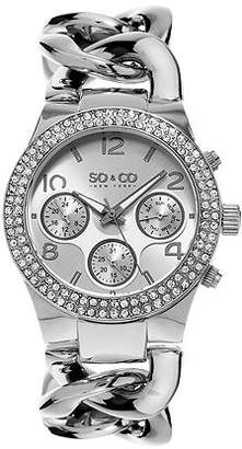 So & Co SO & CO NY Womens Soho Stainless Steel Bracelet Crystal Studded Bezel Dress Quartz Watch J155P12 Family