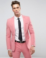 Asos Super Skinny Suit Jacket In Mid Pink