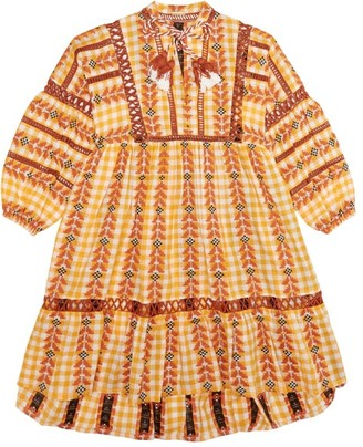 Dodo Bar Or Kids Elena Embroidered Cotton Dress - Yellow