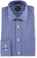 Neiman Marcus Trim-Fit Dobby Gingham Dress Shirt, Blue