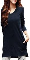 Allegra K Woman V Neck Long Sleeves Pockets Side Split Tunic T-Shirt XL