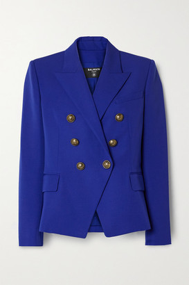 Balmain Double-breasted Wool Blazer - Royal blue