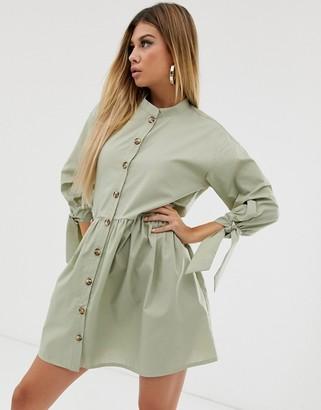 Asos Design DESIGN grandad collar button through mini smock dress with tie sleeve-Green