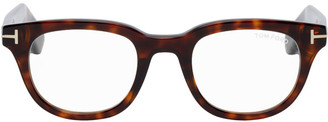 Tom Ford Brown Blue Block Soft Rectangle Glasses
