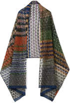 Missoni Metallic Crochet-knit Scarf - Blue