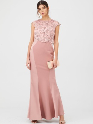 Very Bridesmaid Lace Overlay Maxi Dress - Mauve